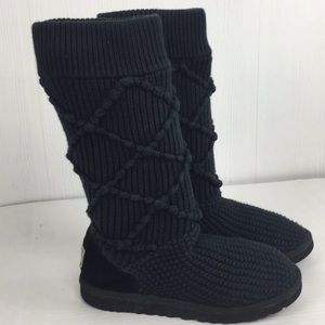 Ugg Cardy Argyle Sweater Tall Boots Black Sz 9